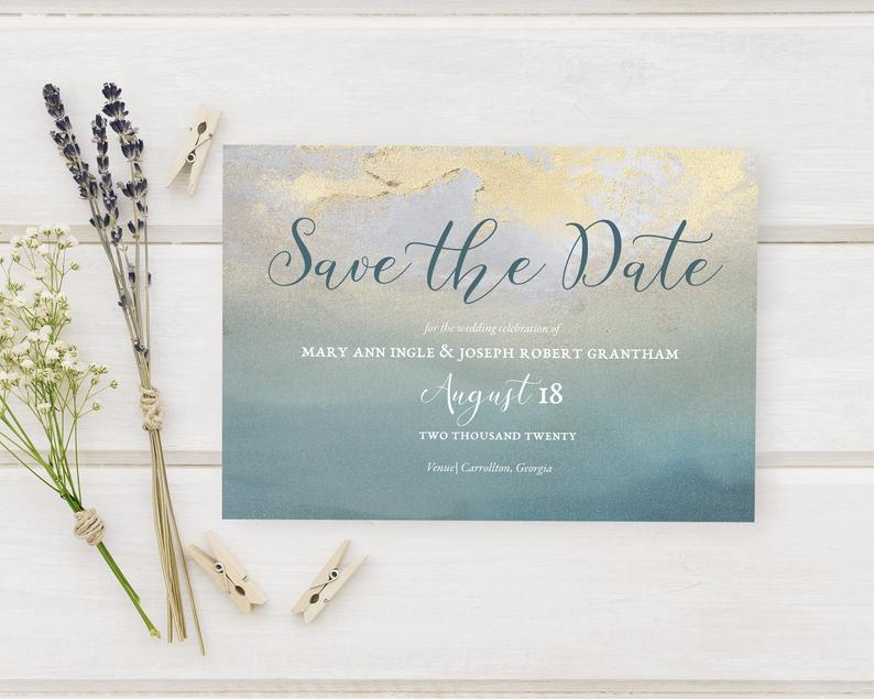Aged Teal & Gold Wedding Save The Date Cards Distressed image 0