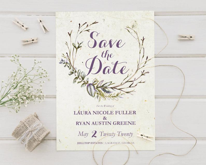 Aged Paper Wedding Save The Date Cards Mark Your Calendar image 0