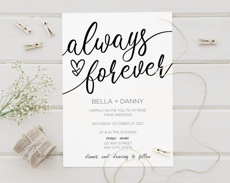 Always and Forever Wedding Invitations & RSVP Card Set Simply image 0