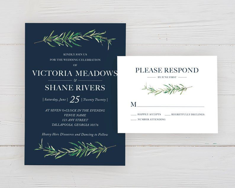 Navy and Rosemary Wedding Invitations & RSVP Card Set Herbal image 0