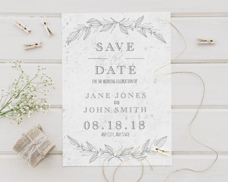 Concrete Silver Wedding Save The Date Card Engagement image 0