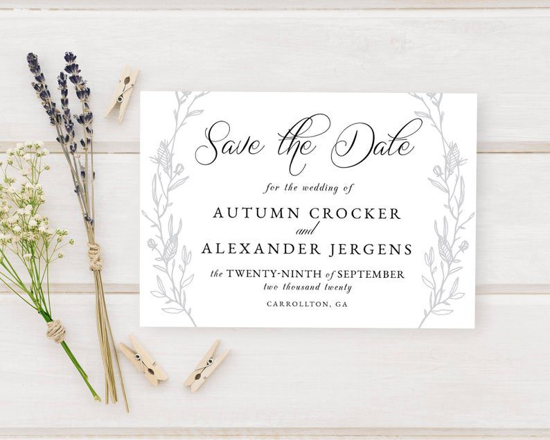 Illustrated Vine Wedding Save The Date Announcements Bride To image 0