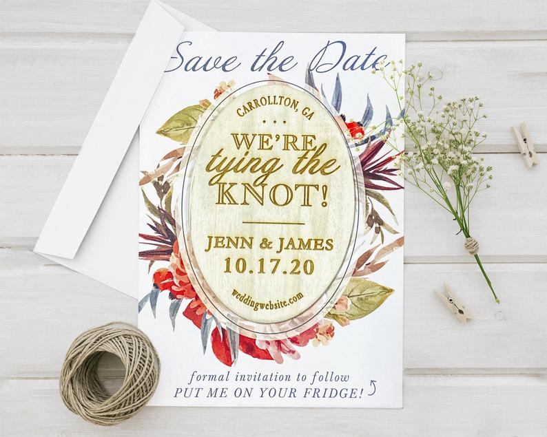 Save The Date Wedding Announcements Laser Engraved Wood Oval image 0