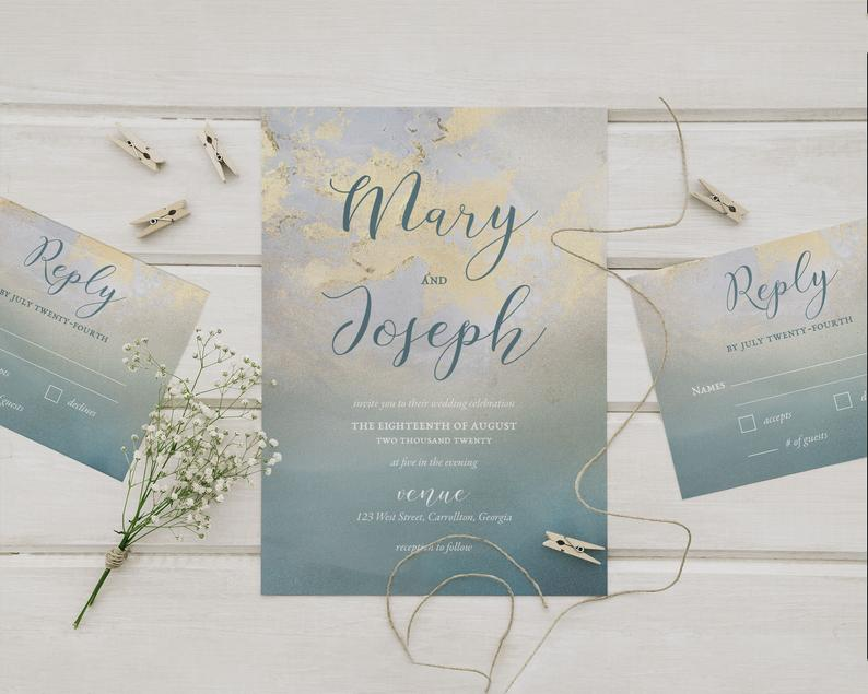 Aged Teal With Gold Wedding Invitations & RSVP Card Set image 0
