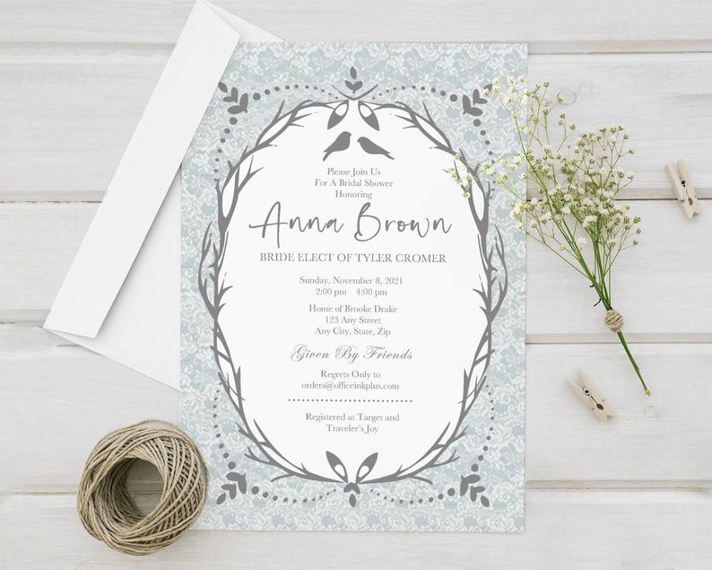 Birds & Branches Nature Engagement Party Invitations Gray image 0