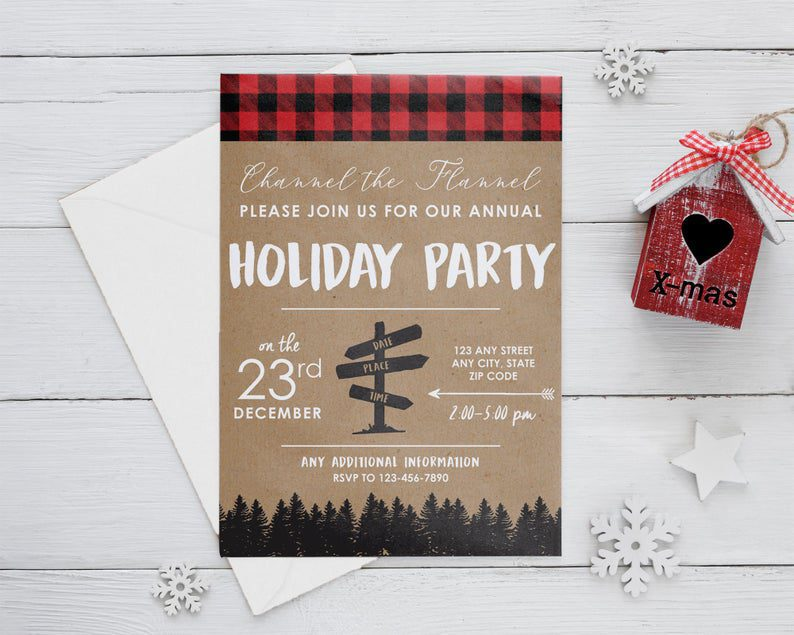 Channel the Flannel Christmas Invitation image 0