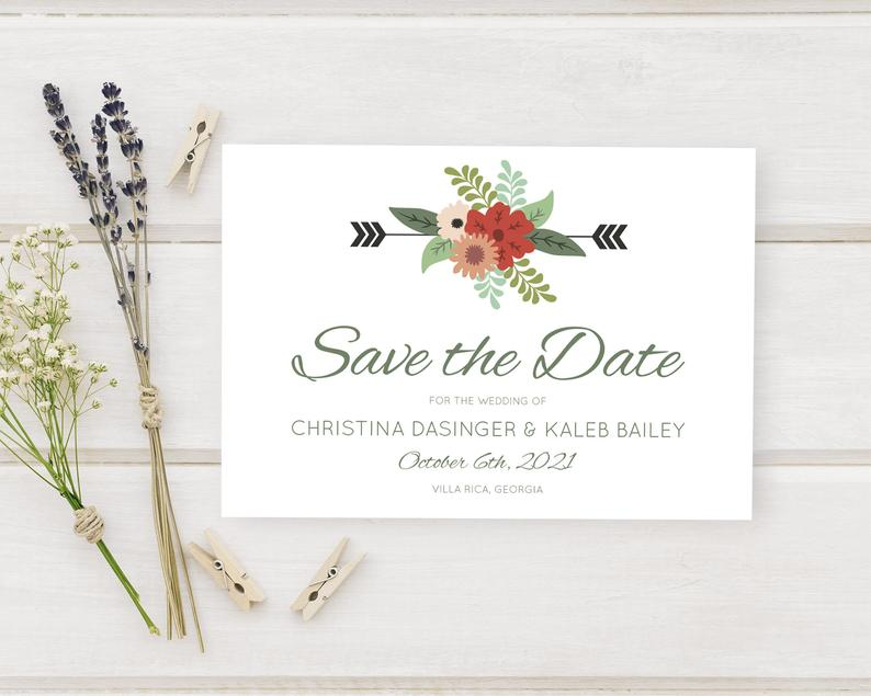 Cute Floral Wedding Save The Date Card Wedding Ceremony image 0