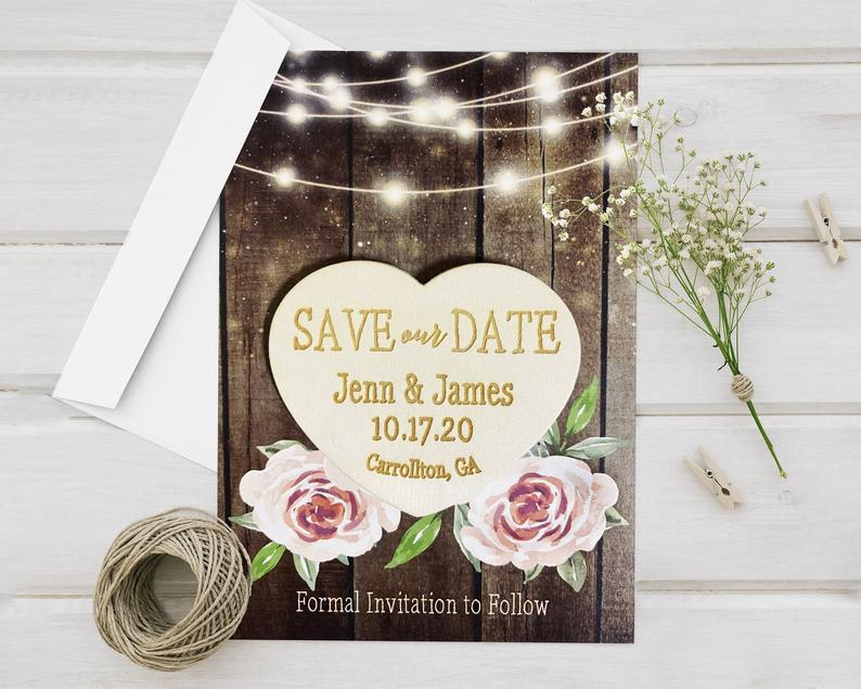 Laser Engraved Wood Heart Save The Date Card Wedding image 0