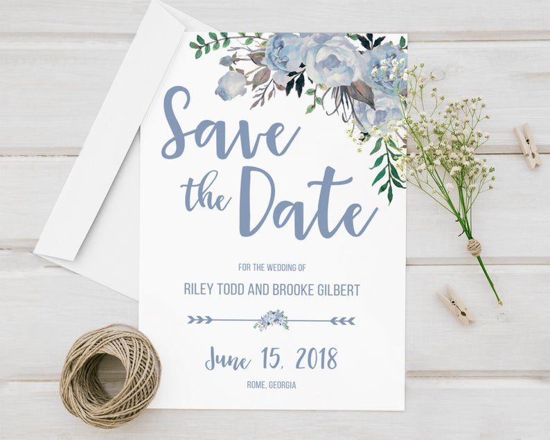 Pastel Blue Wedding Save The Date Cards Announcement image 0
