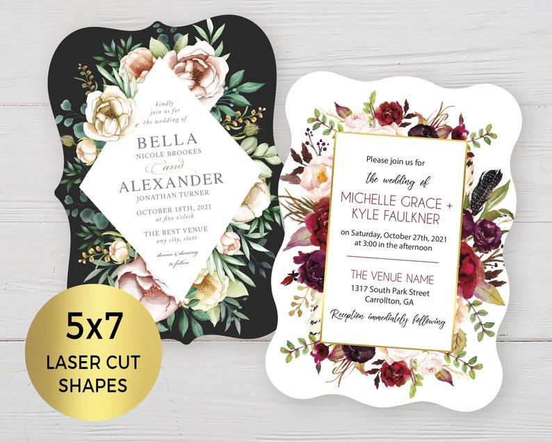 Fancy Laser Cut Floral Cut Outs for 5x7in. Invitations & image 0