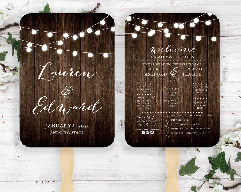 Wooded Wedding Fan With String Lights Barn Wood Printed image 0