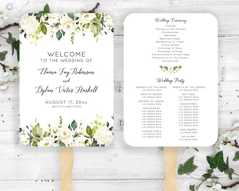Ivory Floral Wedding Fan Marriage Ceremony Printed Program image 0