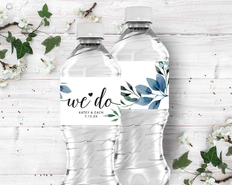 Personalized We Do Blue Watercolor Leaves Water Bottle Labels image 0
