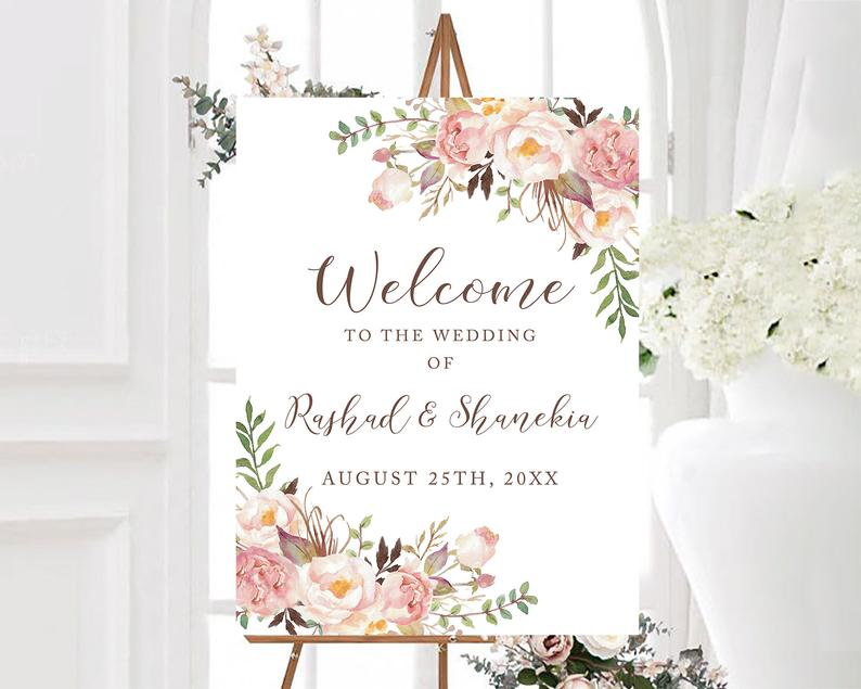 Beige Floral Welcome To Our Wedding Sign Personalized Boho image 0