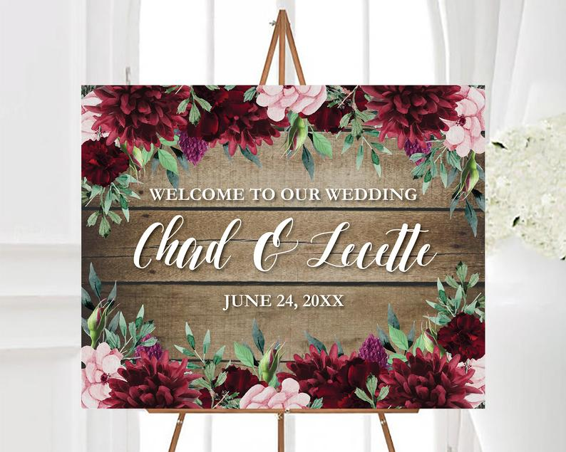 Wood Burgundy Flower Wedding Welcome Sign  Floral Arch Winter image 0