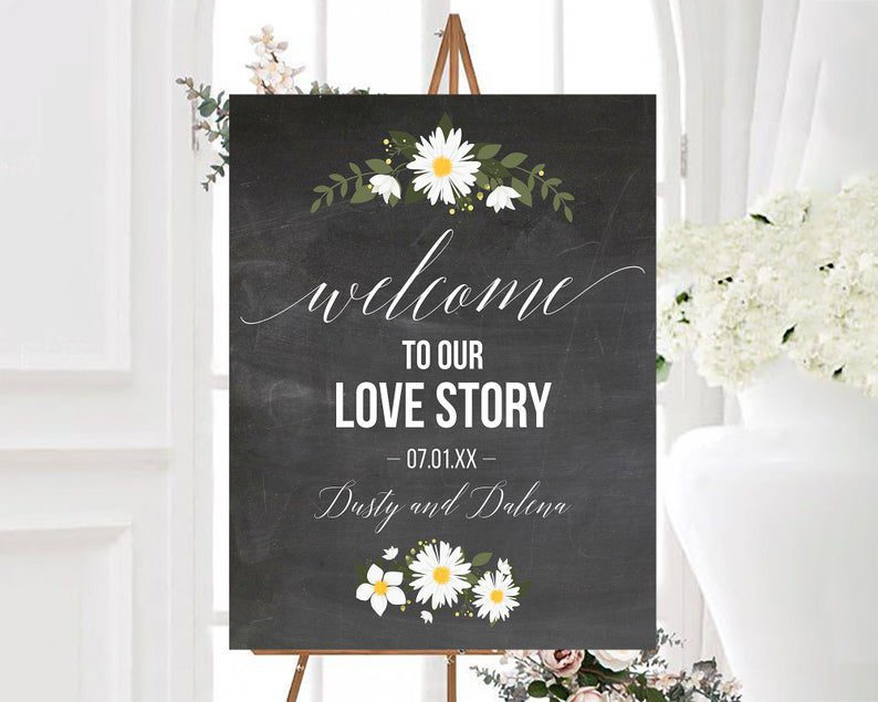 Personalized Chalkboard Welcome To Our Love Story Wedding image 0
