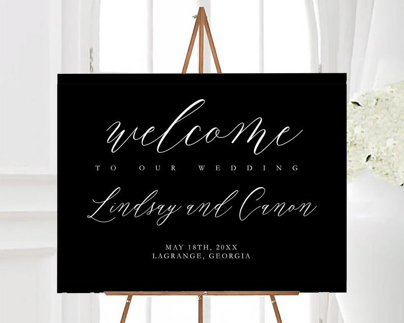 Elegant Welcome To Our Wedding Sign In Black & White image 0