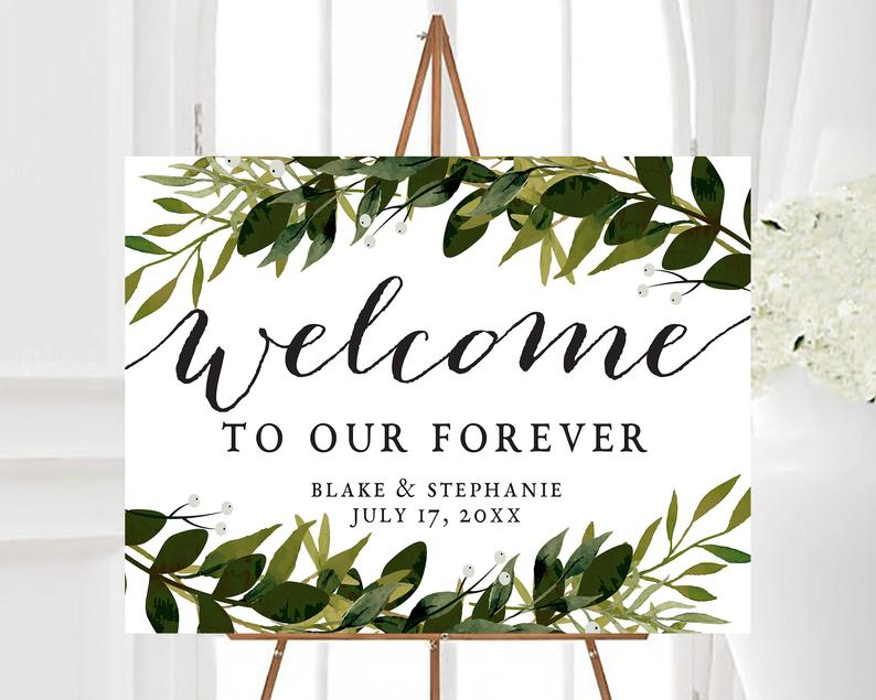 Personalized Welcome To Our Forever Sign Greenery Welcome image 0