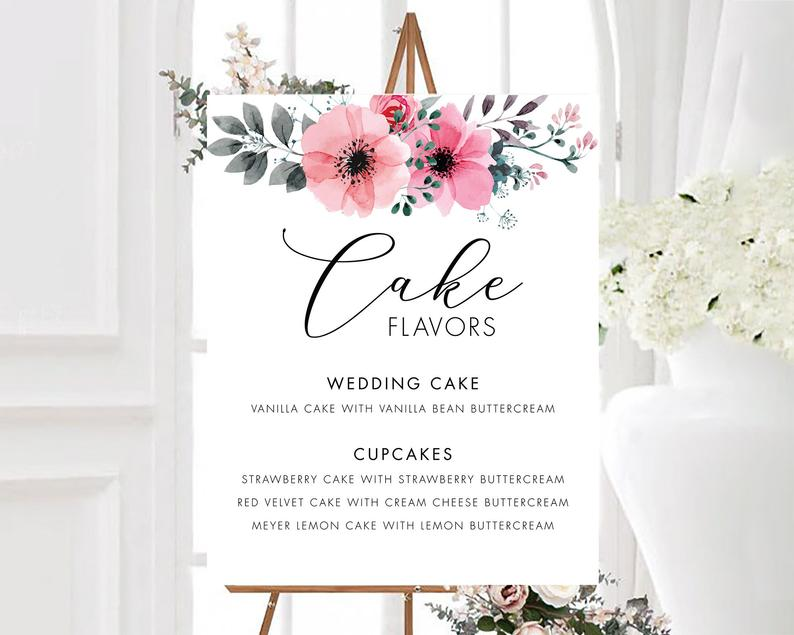 Pink Watercolor Flowers Cake Flavor Table Sign Cupcake Flavor image 0