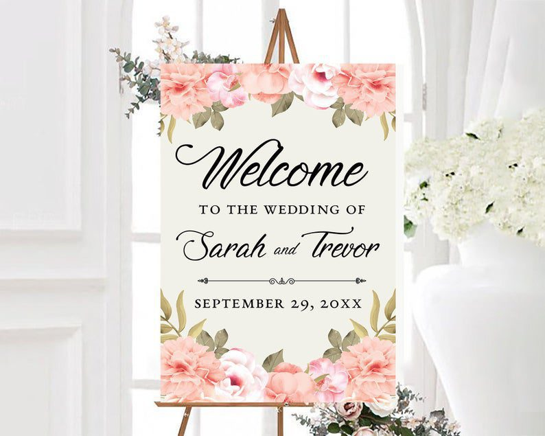 Personalized Pink Peony Welcome To The Wedding of Sign Floral image 0
