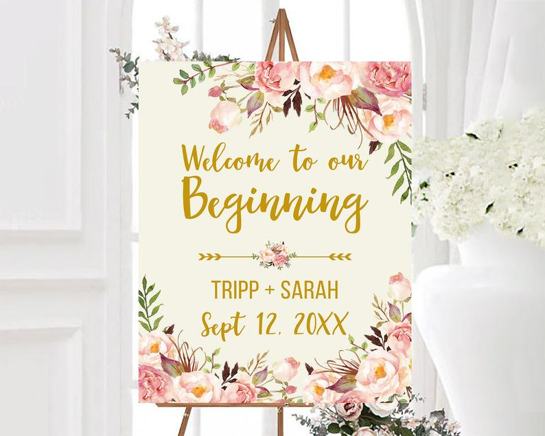 Boho Welcome To Our Beginning Wedding Sign Blush Pink Floral image 0