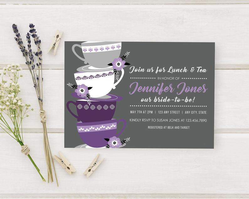 Bridal Luncheon Invitations Purple Teacup Bride To Be Detail image 0