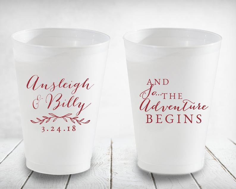 And So the Adventure Begins Personalized Wedding Cups Frosted image 0