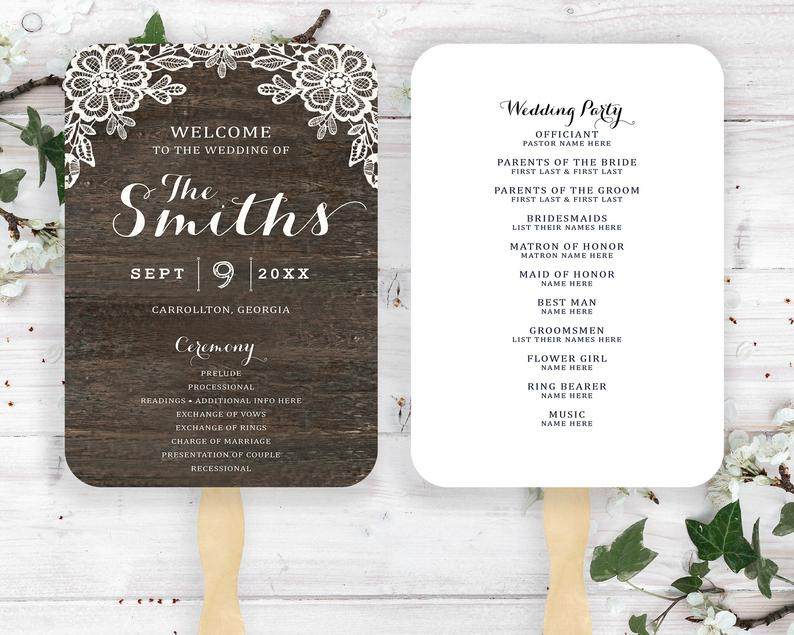 Rustic Wood With Lace Wedding Program Fan Marriage Ceremony image 0