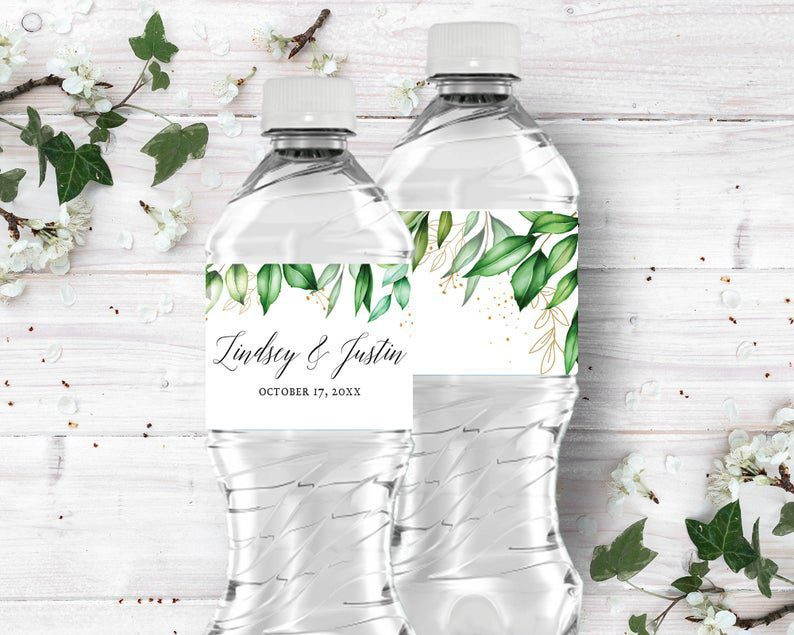 Green Leaf  Gold Wedding Water Bottle Labels Personalized image 0