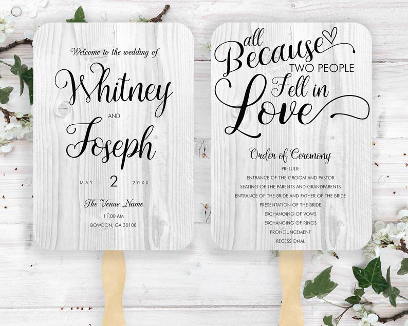 All Because Two People Fell in Love Rustic Wedding Fans Gray image 0