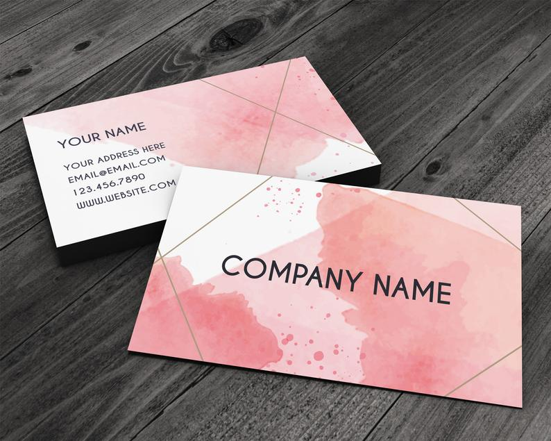 Abstract Pink Watercolor Premium Business Card for Artists image 0