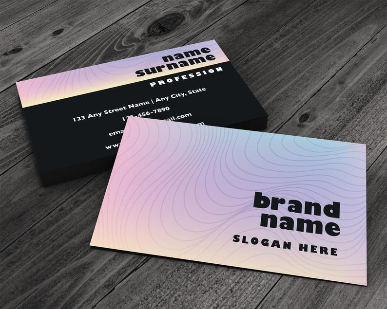 Psychedelic Style Premium Printed Business Card Boho Waves image 0