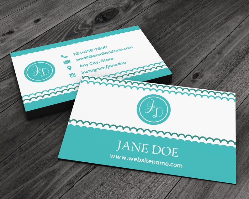 Scalloped Striped Patterned Premium Printed Business Card image 0