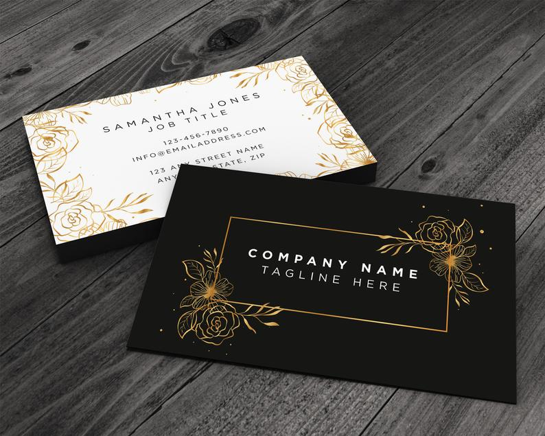 Sparkly Gold Floral Premium Printed Business Card for image 0