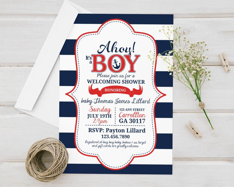 Ahoy It's a Boy Nautical Themed Shower Printed Baby image 0