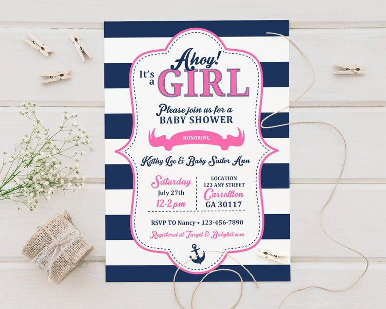 Ahoy It's a Girl Nautical Themed Shower Printed Baby image 0