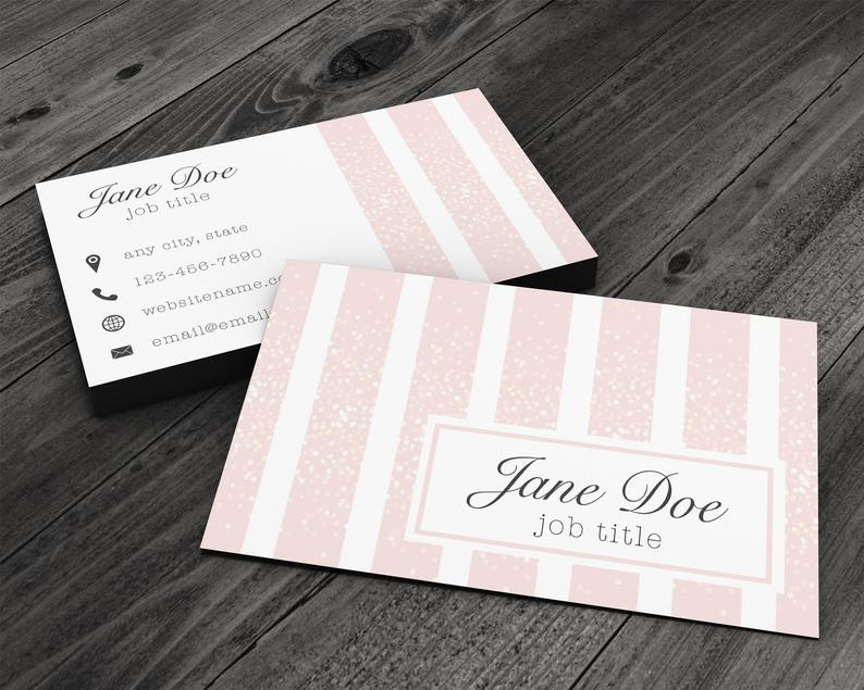 Pink Glitter Stripes Premium Business Card for Artists image 0