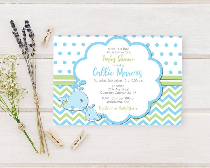 Baby Blue Whales Nautical Themed Shower for Baby Boy Printed image 0