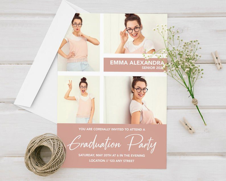 4 Photo Collage Personalized Printed Graduation Announcement image 0