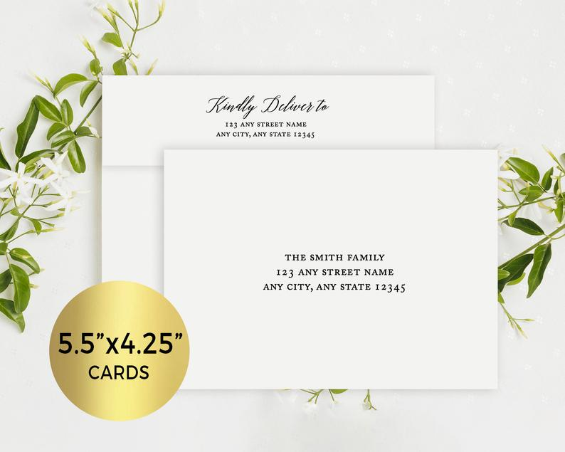 A2 Printed Matching Envelopes for 4.25x5.5 Invitations and image 0
