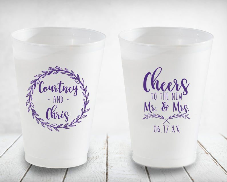 Cheers Bride & Groom Personalized Clear Drinking Cups Custom image 0